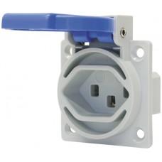 EB-Steckdose STAU T23 3P 16A 230V grau Deckel blau