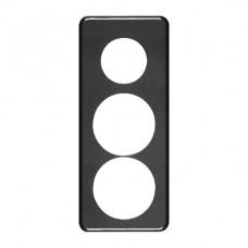 Abdeckplatte,3x1,206x86, schwarz Ø43+58+58mm,Achsdist.60/60mm