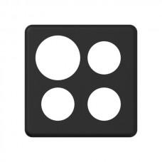 Abdeckplatte,2x2,146x146, schwarz Ø43+43+43+58mm