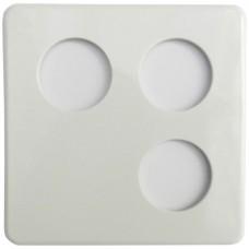 Abdeckplatte,2x2,146x146,weiss blind+Ø43+43+43mm