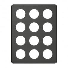 Abdeckplatte,4x3,266x206, schwarz 12xØ43mm