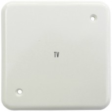 Abdeckplatte,1x1,86x86,schwarz,2 Befestigungslöcher,diagonal,Gravur TV