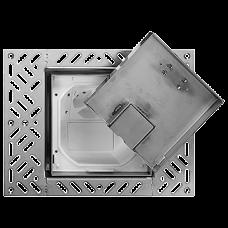 Bodendose Feller 130x130mm bündig Einlagedeckel Chromstahl geschliffen