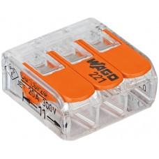 Dosenklemme 3L 0,2-4mm² transparent Wago Compact - 50stk
