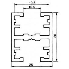 Befestigungsschiene 25x30mm Aluminium L=3m Almatec AN 25.3 Doppelprofil