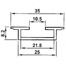 Profilschiene Aluminium, Almatec AN 35.8, Länge 3m
