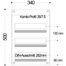 AP-Sicherungsverteiler HAG 3-Reihen/ 48Mo 340x500x97mm