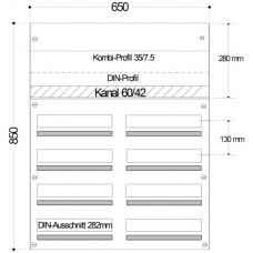 AP-Sicherungsverteiler HAG 2x4-Reihen/128Mod 650x850x97mm