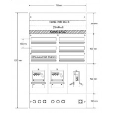 AP-Sicherungsverteiler HAG 2x3R/ 114 Module 755x1270x97mm
