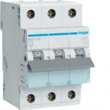 Leitungsschutzschalter 3 polig 6kA C-Charakteristik 10A 3 Module MCN310