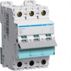 Leitungsschutzschalter 3 polig 10kA C-Charakteristik 32A 3 Module NCN332