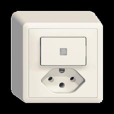 AP-Kleinkombination EDIZIOdue colore Leucht-Druckschalter und Steckdose T13 3/1L Frontlinse LED Gelb Kontrolllampe