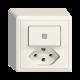AP-Kleinkombination EDIZIOdue colore Leucht-Druckschalter und Steckdose Typ 13  3/1 P Frontlinse LED Gelb Orientierungslampe