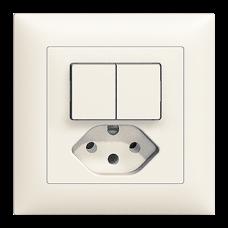 UP-Kleinkombination EDIZIOdue Doppel-Druckschalter und Steckdose 1/3+3/1L+T13