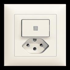 UP-Kleinkombination EDIZIOdue Leucht-Druckschalter und Steckdose 3/1L+T13 mit Frontlinse LED Gelb Kontrolllampe