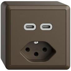 AP-Steckdose USB 2×Typ C + Typ 13 Feller EDIZIOdue FX54 230V 3000mA coffee