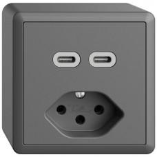 AP-Steckdose USB 2×Typ C + Typ 13 Feller EDIZIOdue FX54 230V 3000mA dunkelgrau