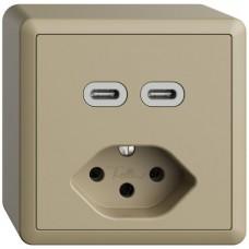 AP-Steckdose USB 2×Typ C + Typ 13 Feller EDIZIOdue FX54 230V 3000mA sand