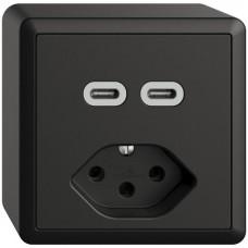 AP-Steckdose USB 2×Typ C + Typ 13 Feller EDIZIOdue FX54 230V 3000mA schwarz