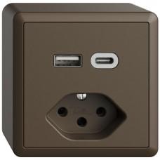 AP-Steckdose USB Typ A+C + Typ 13 Feller EDIZIOdue FX54 230V 3000mA coffee