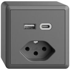 AP-Steckdose USB Typ A+C + Typ 13 Feller EDIZIOdue FX54 230V 3000mA dunkelgrau