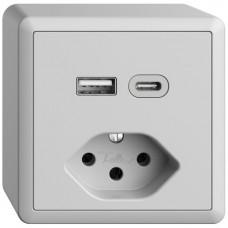 AP-Steckdose USB Typ A+C + Typ 13 Feller EDIZIOdue FX54 230V 3000mA hellgrau