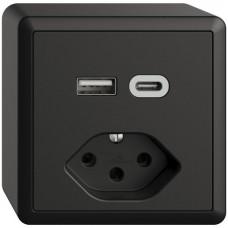 AP-Steckdose USB Typ A+C + Typ 13 Feller EDIZIOdue FX54 230V 3000mA schwarz