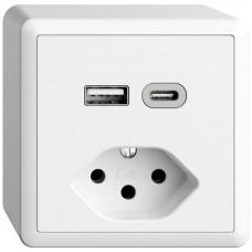 AP-Steckdose USB Typ A+C + Typ 13 Feller EDIZIOdue FX54 230V 3000mA weiss