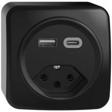 AP-Steckdose USB Typ A+C + Typ 13 Feller STANDARDdue QX54 230V 3000mA schwarz