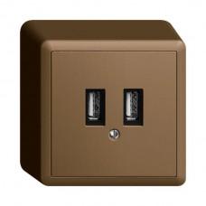 AP-USB-Ladesteckdose EDIZIOdue, 230VAC, 1×3000mA/2×1500mA, 2×USB Typ A, coffee