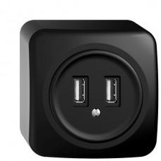 AP-USB-Ladesteckdose STANDARDdue, 230VAC, 1×3000mA/2×1500mA, 2×USB Typ A, schwarz