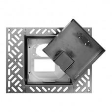 Bodendose Feller für 1×FM+1×FLF 130×130 bündig, Einlagedeckel für Bodeneinlage Chromstahl geschliffen