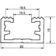 Befestigungsschiene ALMA 25×15mm L=3m gezahnt