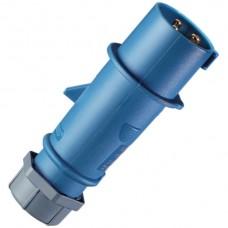 Stecker CEE AM-Top 16A 3P 230V 6h blau mit Kabelknickschutz