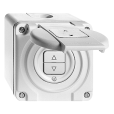 AP-Nass-Storenschalter,weiss Feller,NAP,10A,2 Drucktasten