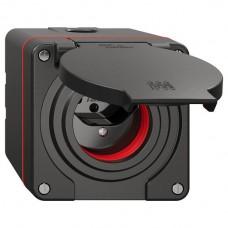 NAP-Steckdose Feller NEVO 1xT13 IP55 mit roter Dichtung schwarz