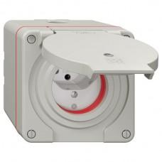 NAP-Steckdose Feller NEVO 1xT13 IP55 mit roter Dichtung LED hellgrau