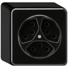 AP-Steckdose Hager basico 3×T13 schwarz H=54mm