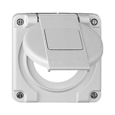 Deckel mit Klappdeckel für Einfachsteckdosen Typ 13/15/23/25 mit Bezeichnungsschild Bohrung 43 mm