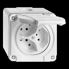 Dreifach-Steckdose AP Nass T13 Feller Kunststoff parallel Beleuchtet LED Grün