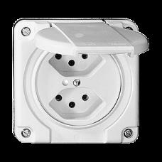 Zweifach-Steckdose Beleuchtet UP Nass T13 Feller Kunststoff LED Grün