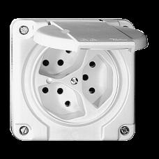 Dreifach-Steckdose UP Nass T13 Feller Kunststoff Beleuchtet LED Grün