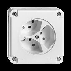 Dreifach-Steckdose UP feucht T13 Feller NUPU Beleuchtet LED Grün