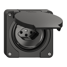 FI-Steckdose Einsatz Feller NEVO T13 mit Kinderschutz mit Anschlussklemmen schwarz für Kombination
