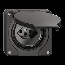 FI-Steckdose Einsatz Feller NEVO T23 mit Kinderschutz mit Anschlussklemmen schwarz für Kombination