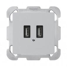 UP-USB-Ladesteckdose,240V, hellgrau kallysto,2x700mA,ohne Rahmen